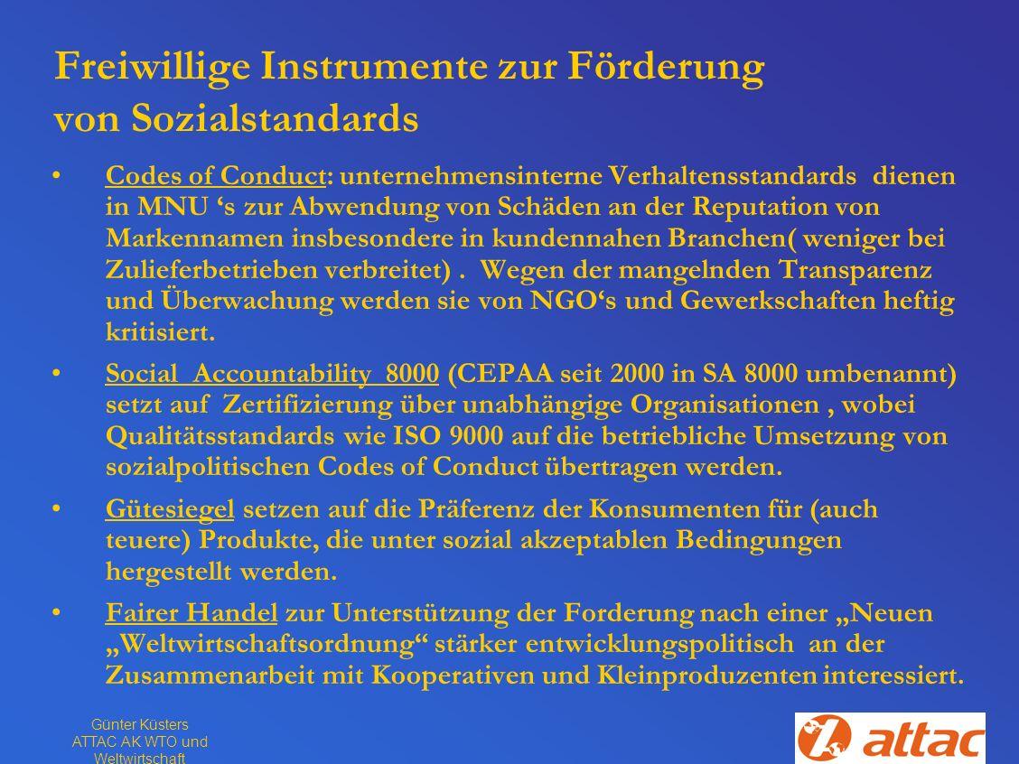Günter Küsters ATTAC AK WTO und Weltwirtschaft Freiwillige Instrumente zur Förderung von Sozialstandards Codes of Conduct: unternehmensinterne Verhalt