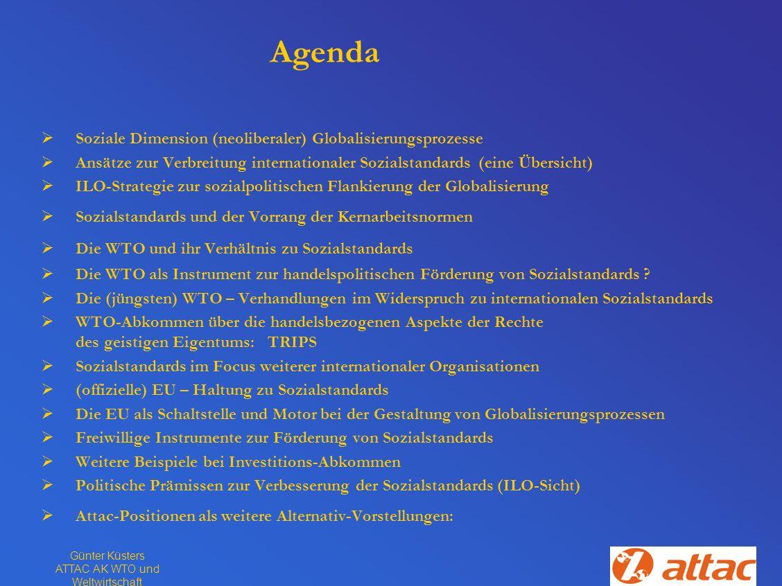 Günter Küsters ATTAC AK WTO und Weltwirtschaft Agenda Soziale Dimension (neoliberaler) Globalisierungsprozesse Ansätze zur Verbreitung internationaler