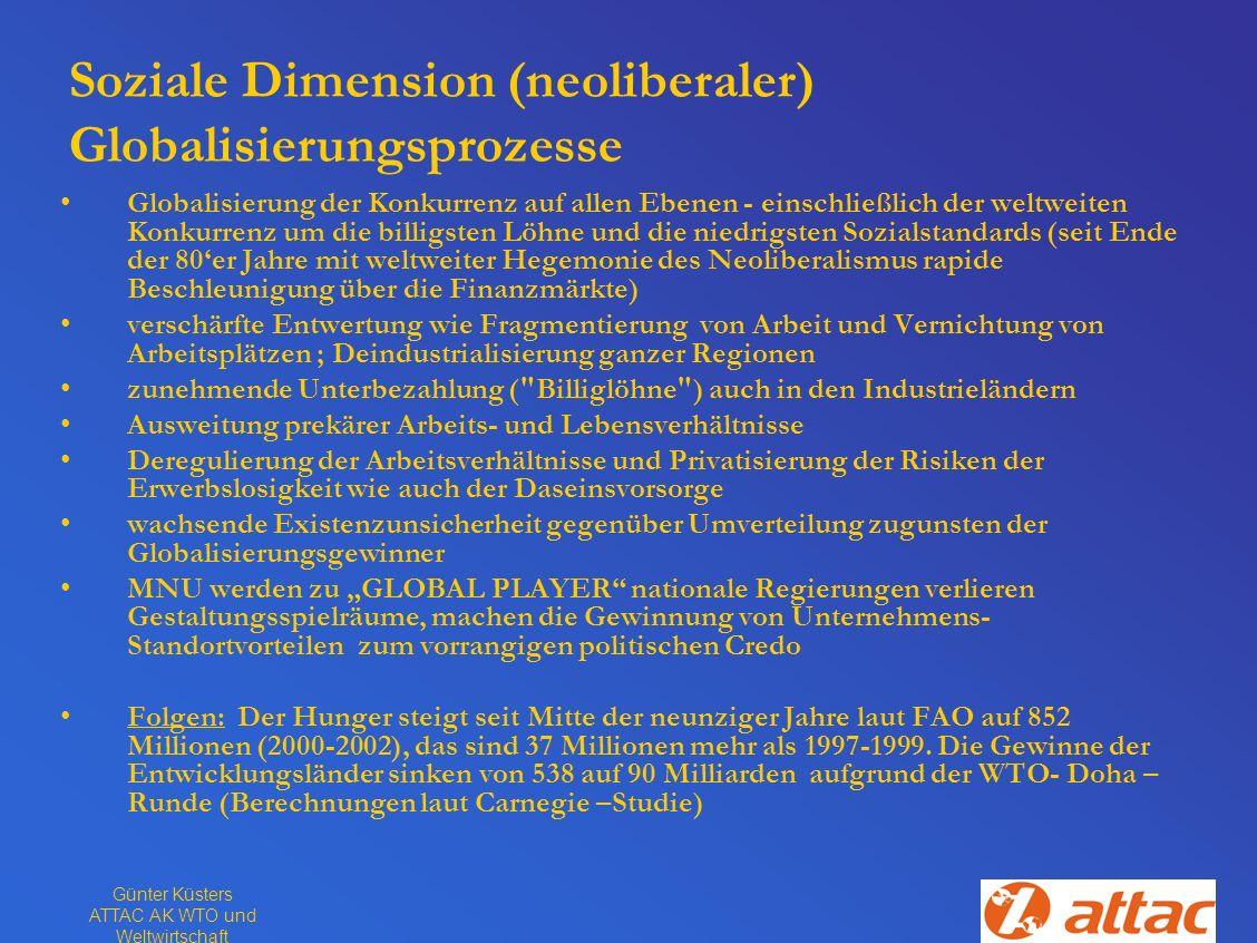 Günter Küsters ATTAC AK WTO und Weltwirtschaft Soziale Dimension (neoliberaler) Globalisierungsprozesse Globalisierung der Konkurrenz auf allen Ebenen