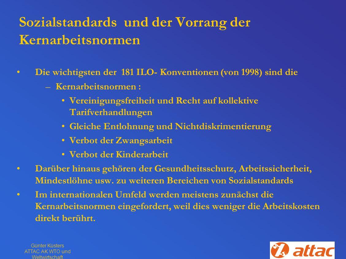 Günter Küsters ATTAC AK WTO und Weltwirtschaft Sozialstandards und der Vorrang der Kernarbeitsnormen Die wichtigsten der 181 ILO- Konventionen (von 19