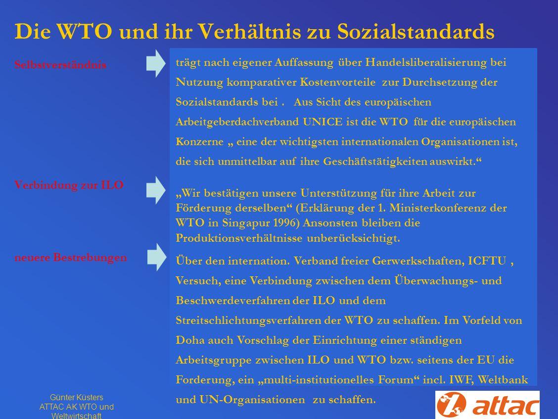 Günter Küsters ATTAC AK WTO und Weltwirtschaft Die WTO und ihr Verhältnis zu Sozialstandards Selbstverständnis Verbindung zur ILO neuere Bestrebungen