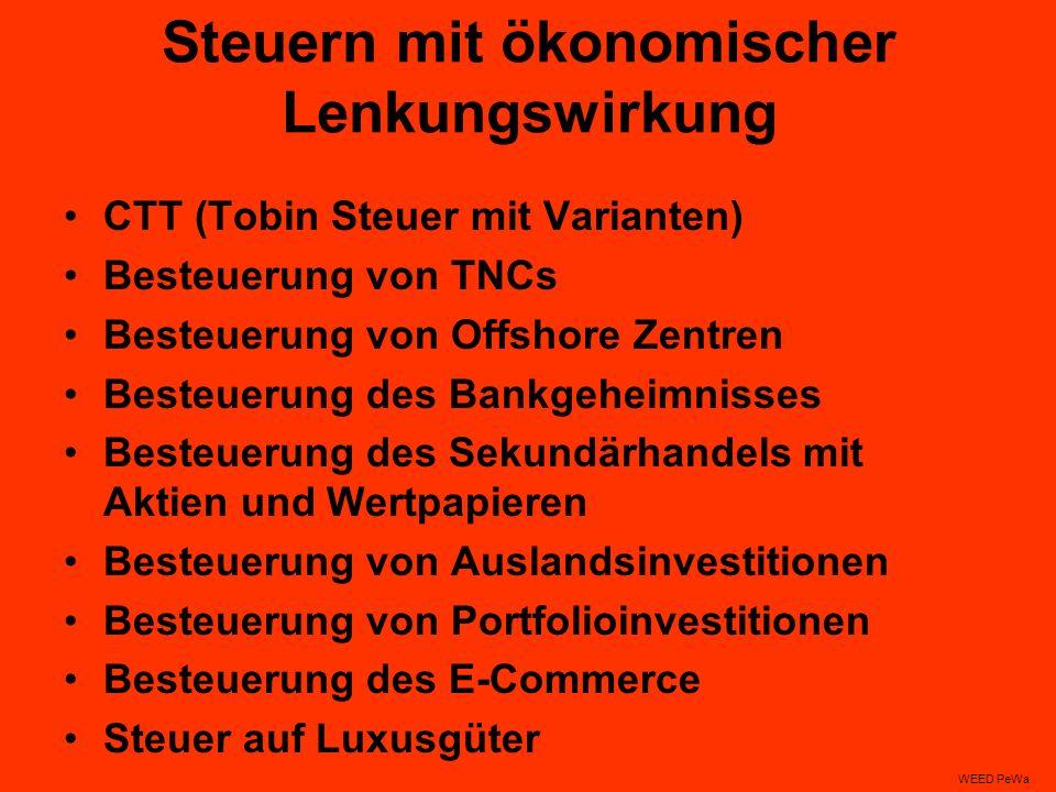 Steuern mit ökonomischer Lenkungswirkung CTT (Tobin Steuer mit Varianten) Besteuerung von TNCs Besteuerung von Offshore Zentren Besteuerung des Bankgeheimnisses Besteuerung des Sekundärhandels mit Aktien und Wertpapieren Besteuerung von Auslandsinvestitionen Besteuerung von Portfolioinvestitionen Besteuerung des E-Commerce Steuer auf Luxusgüter WEED PeWa