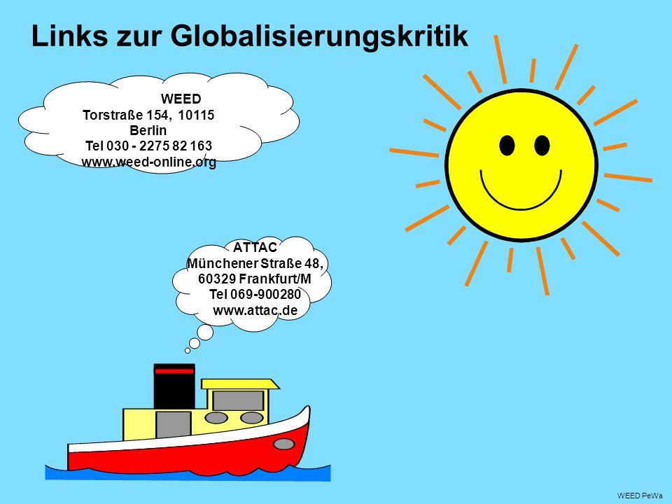 WEED PeWa Links zur Globalisierungskritik WEED Torstraße 154, 10115 Berlin Tel 030 - 2275 82 163 www.weed-online.org ATTAC Münchener Straße 48, 60329 Frankfurt/M Tel 069-900280 www.attac.de