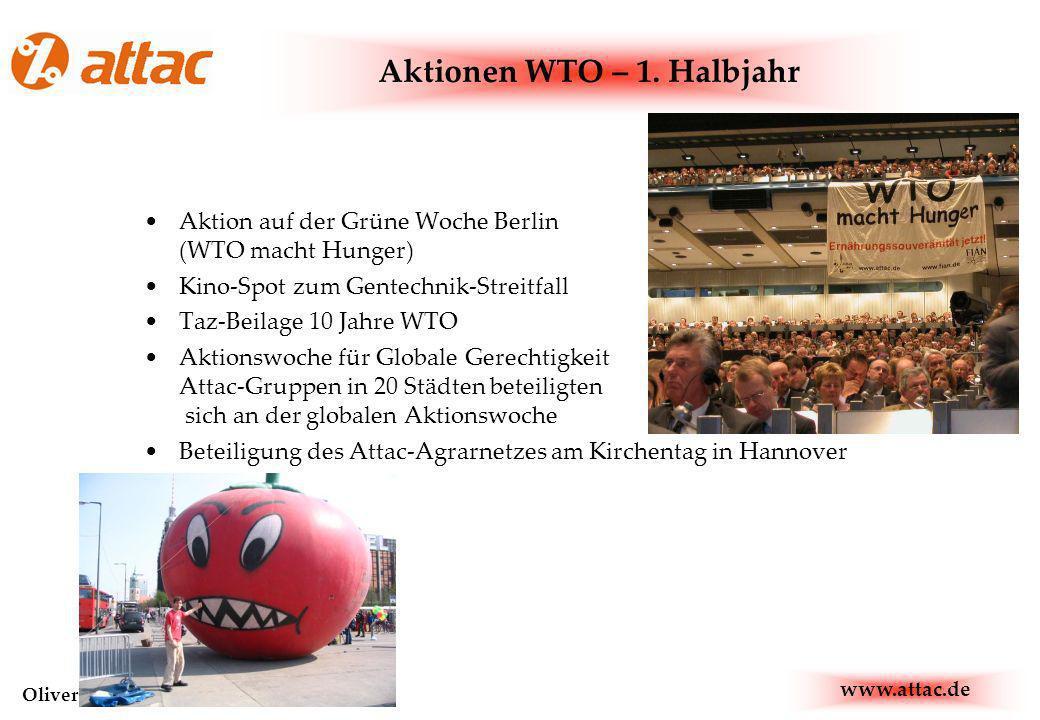 www.attac.de Oliver Moldenhauer, oliver@attac.de Aktion auf der Grüne Woche Berlin (WTO macht Hunger) Kino-Spot zum Gentechnik-Streitfall Taz-Beilage 10 Jahre WTO Aktionswoche für Globale Gerechtigkeit Attac-Gruppen in 20 Städten beteiligten sich an der globalen Aktionswoche Beteiligung des Attac-Agrarnetzes am Kirchentag in Hannover Aktionen WTO – 1.