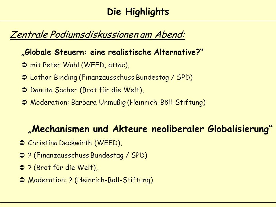 Die Highlights Globale Steuern: eine realistische Alternative.