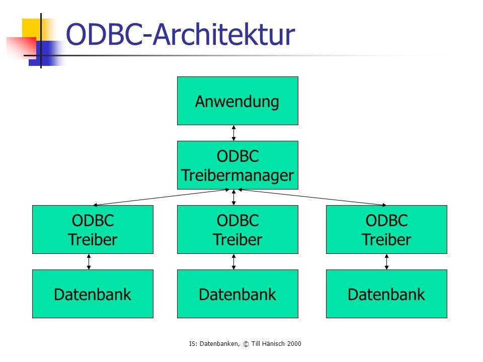 IS: Datenbanken, © Till Hänisch 2000 ODBC-Architektur Anwendung ODBC Treibermanager ODBC Treiber Datenbank ODBC Treiber Datenbank ODBC Treiber Datenba