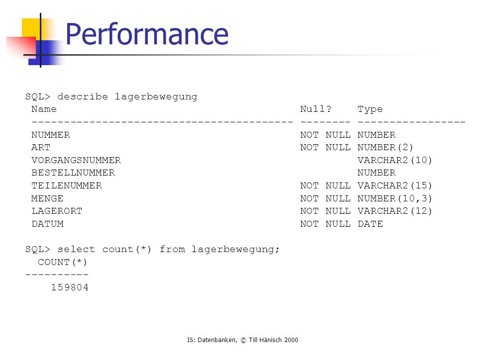 IS: Datenbanken, © Till Hänisch 2000 Performance SQL> describe lagerbewegung Name Null.