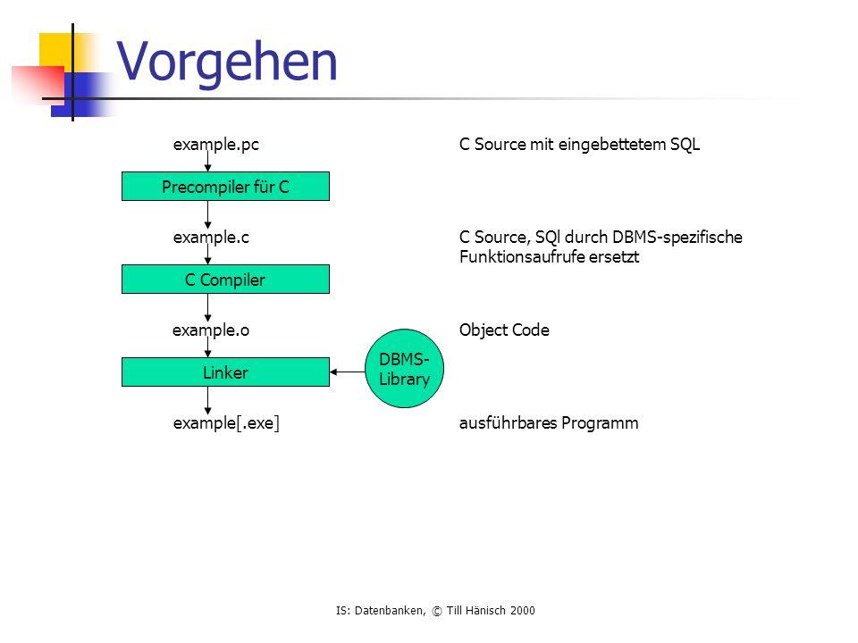 IS: Datenbanken, © Till Hänisch 2000 JDBC - ResultSet executeQuery liefert ResultSet-Objekt zurück Kapselt Cursor, kann Ergebnis zeilenweise durchgehen Steht nach executeQuery vor dem ersten Datensatz next() geht einen Datensatz weiter, liefert true zurück, solange aktueller Datensatz gültig Zugriff auf Spalten mit getXXX (getInt, getString,...) ResultSet rset = stmt.executeQuery ( select empno,ename from emp ); while (rset.next ()) System.out.println (rset.getInt(1) + + rset.getString (2)); }