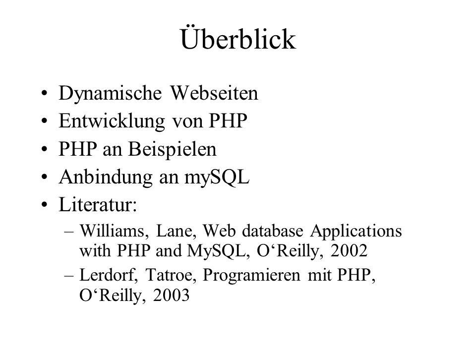 Überblick Dynamische Webseiten Entwicklung von PHP PHP an Beispielen Anbindung an mySQL Literatur: –Williams, Lane, Web database Applications with PHP