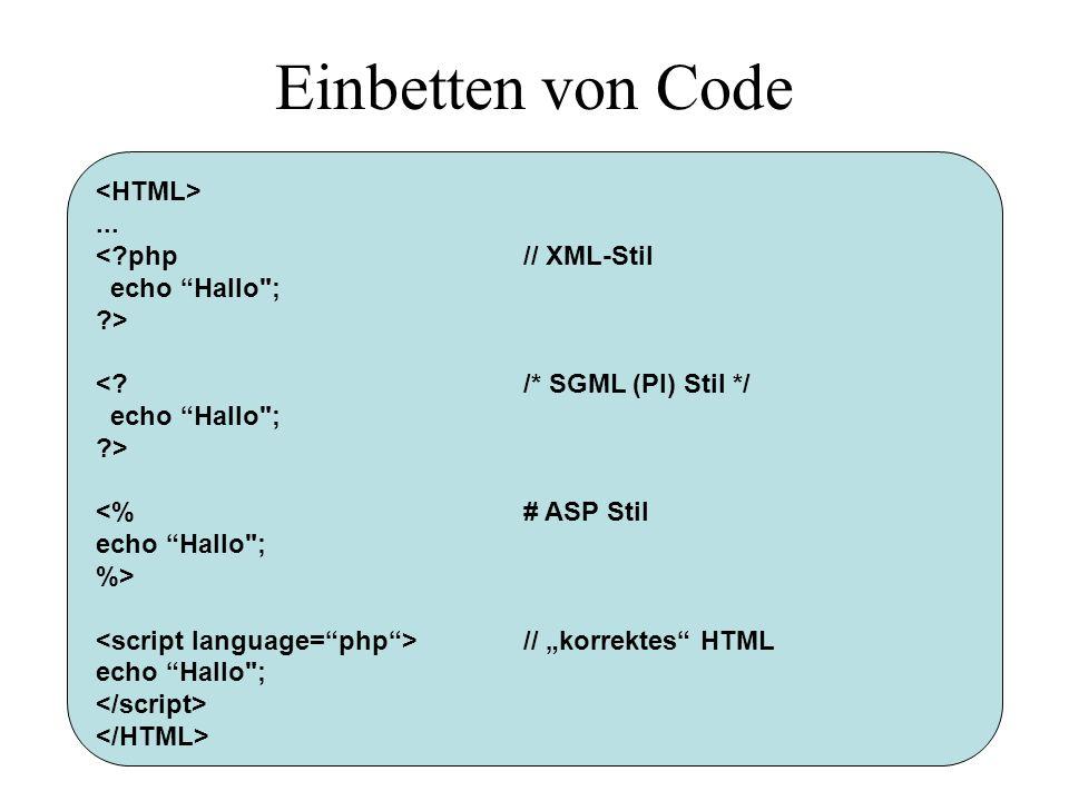 Variablenfunktionen <?php function minus($i) { return $i-1; } function plus($i) { return $i+1; } $op = plus; echo $op(3); ?> Wie andere Scriptsprachen auch ist PHP ziemlich flexibel, ein Beispiel: