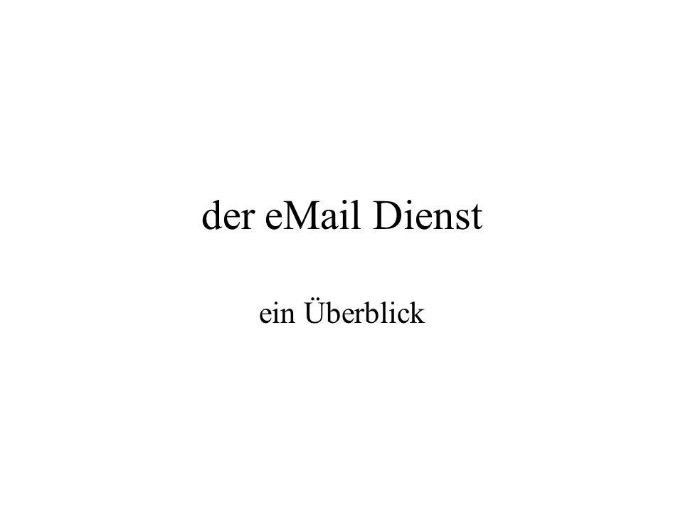Inhalt der Dienst eMail Transport der eMail Protokolle Authorisierungsverfahren Einrichten eines eMail-Kontos eMail-Server