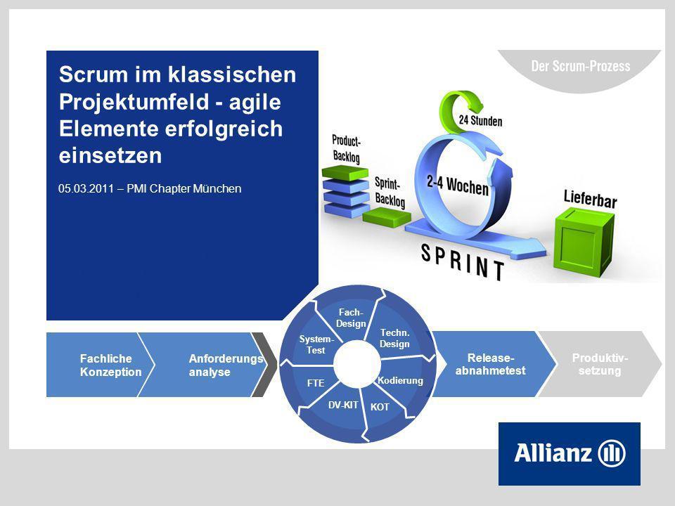 2 © Copyright Allianz 05.03.2012 Inhalt 1 Agile Methodik im Projektkontext 2 Wie wird agiles Vorgehen derzeit beim ABS Programm Leben Vertrag umgesetzt.