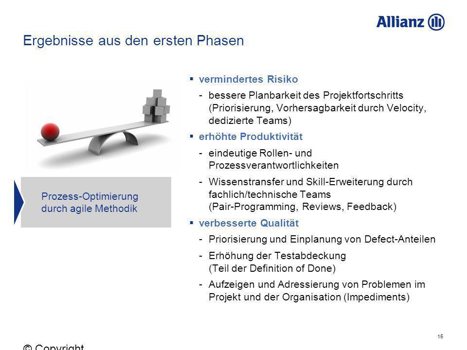 15 © Copyright Allianz 05.03.2012 Ergebnisse aus den ersten Phasen vermindertes Risiko -bessere Planbarkeit des Projektfortschritts (Priorisierung, Vo