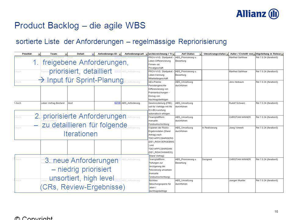 16 © Copyright Allianz 05.03.2012 Product Backlog – die agile WBS 1. freigebene Anforderungen, priorisiert, detailliert Input für Sprint-Planung 2. pr