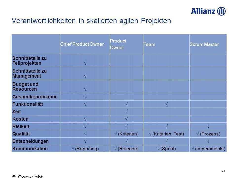 20 © Copyright Allianz 05.03.2012 Verantwortlichkeiten in skalierten agilen Projekten Chief Product Owner Product Owner TeamScrum Master Schnittstelle