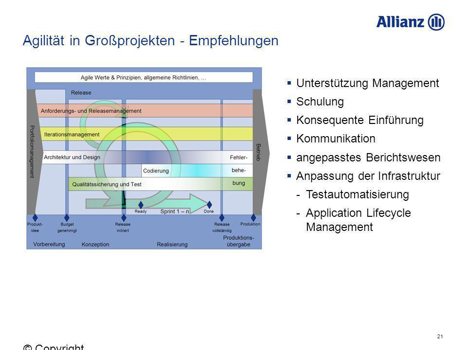 21 © Copyright Allianz 05.03.2012 Agilität in Großprojekten - Empfehlungen Unterstützung Management Schulung Konsequente Einführung Kommunikation ange