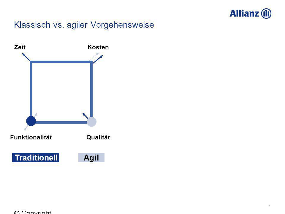 4 © Copyright Allianz 05.03.2012 Klassisch vs. agiler Vorgehensweise ZeitKosten FunktionalitätQualität TraditionellAgil