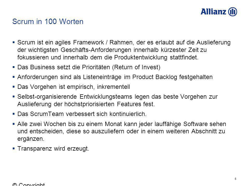 16 © Copyright Allianz 05.03.2012 Product Backlog – die agile WBS 1.