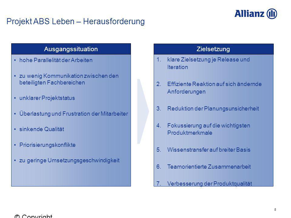 8 © Copyright Allianz 05.03.2012 Ausgangssituation hohe Parallelität der Arbeiten zu wenig Kommunikation zwischen den beteiligten Fachbereichen unklar