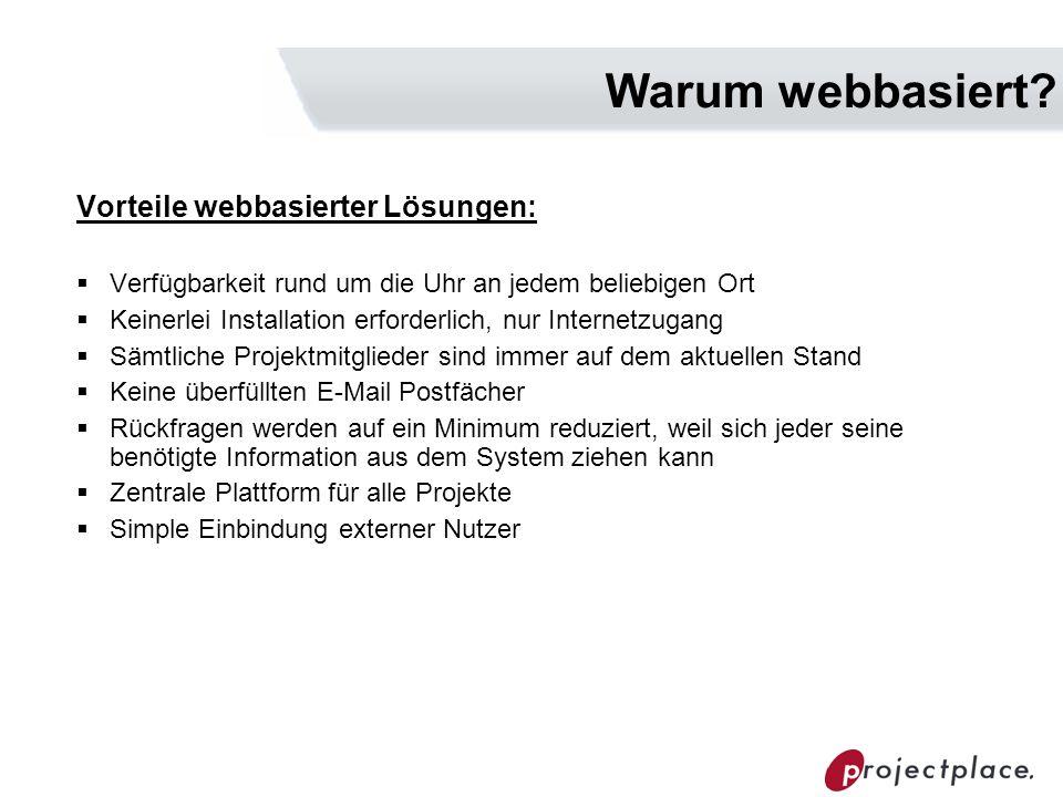 Warum webbasiert? Vorteile webbasierter Lösungen: Verfügbarkeit rund um die Uhr an jedem beliebigen Ort Keinerlei Installation erforderlich, nur Inter
