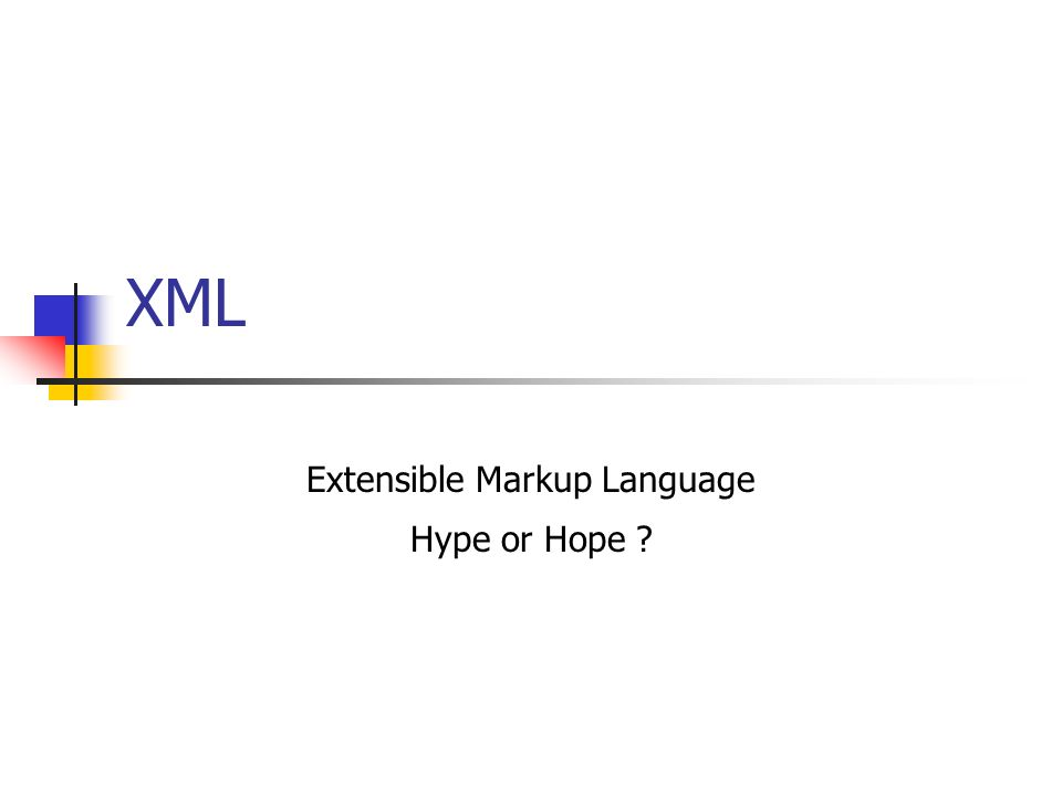 XML Extensible Markup Language Hype or Hope ?