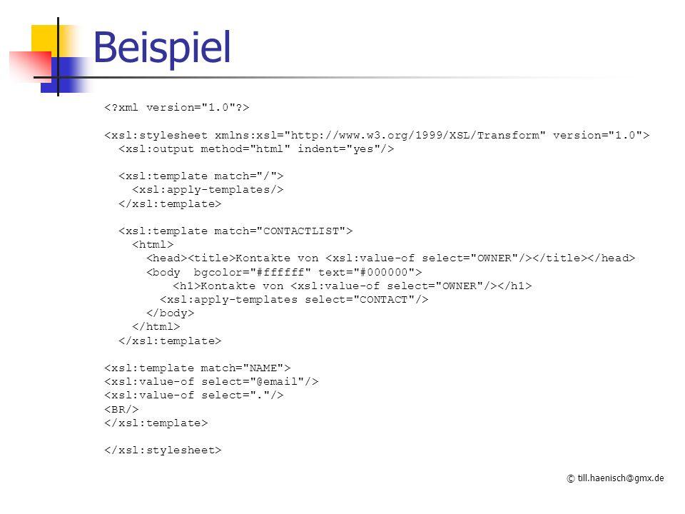 © till.haenisch@gmx.de Beispiel Kontakte von Kontakte von
