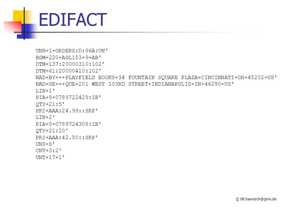 © till.haenisch@gmx.de EDIFACT UNH+1+ORDERS:D:96A:UN' BGM+220+AGL153+9+AB' DTM+137:20000310:102' DTM+61:20000410:102' NAD+BY+++PLAYFIELD BOOKS+34 FOUN