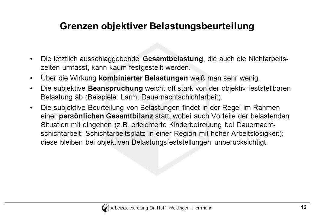 Arbeitszeitberatung Dr. Hoff · Weidinger · Herrmann 12 Grenzen objektiver Belastungsbeurteilung Die letztlich ausschlaggebende Gesamtbelastung, die au