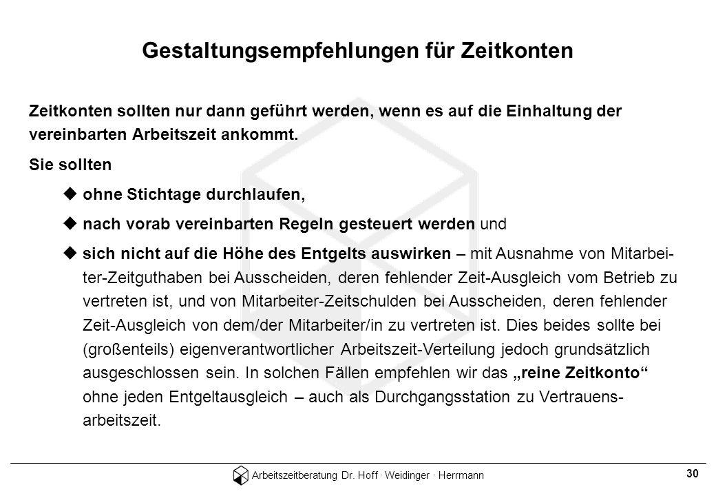 Arbeitszeitberatung Dr. Hoff · Weidinger · Herrmann 30 Zeitkonten sollten nur dann geführt werden, wenn es auf die Einhaltung der vereinbarten Arbeits
