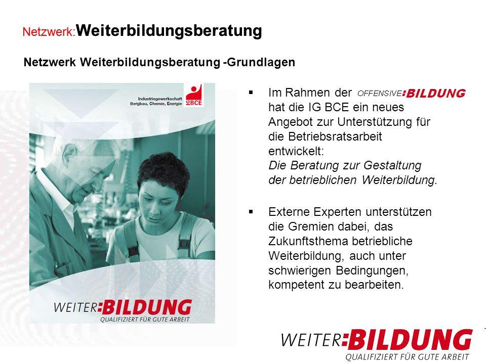 Netzwerk: Weiterbildungsberatung Neben den Beratungsangeboten gibt es Handlungshilfen (zum Bestellen und zum Downloaden - www.weiter- bildung.igbce.de).www.weiter- bildung.igbce.de Seminare, Konferenzen und Inhouse- Workshops werden angeboten.