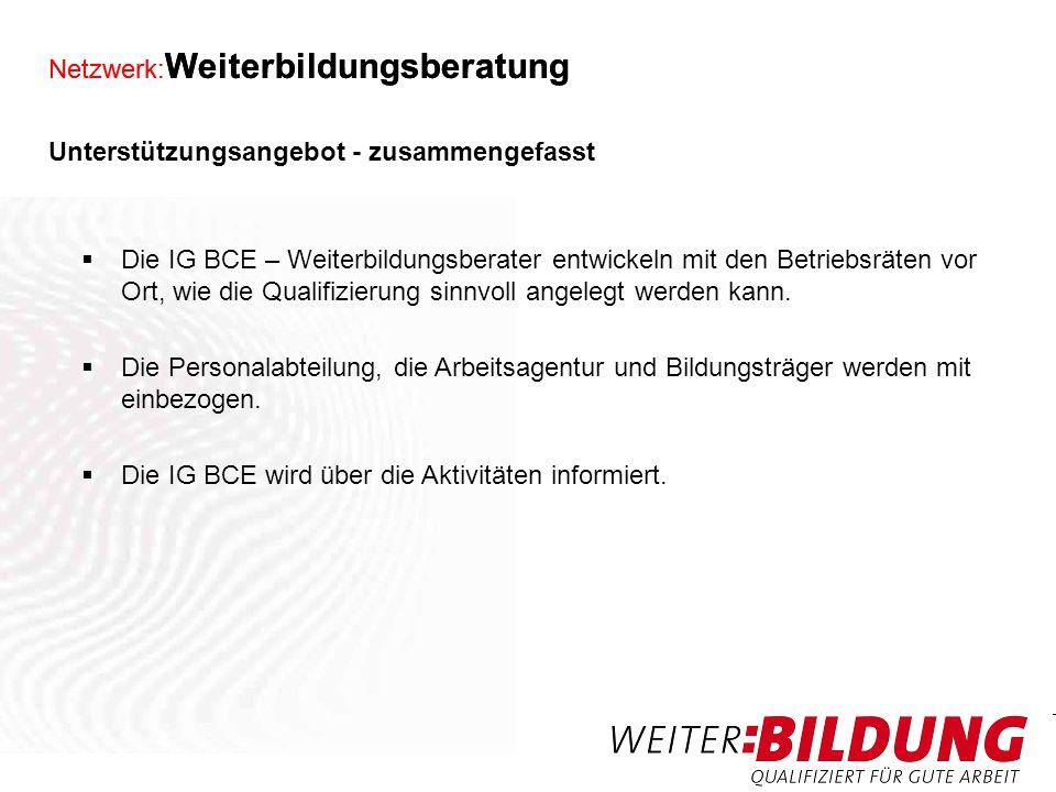 Netzwerk: Weiterbildungsberatung Mehr Unterstützung unter: www.igbce.de (Mitgliederbereich / Betriebsräte)www.igbce.de