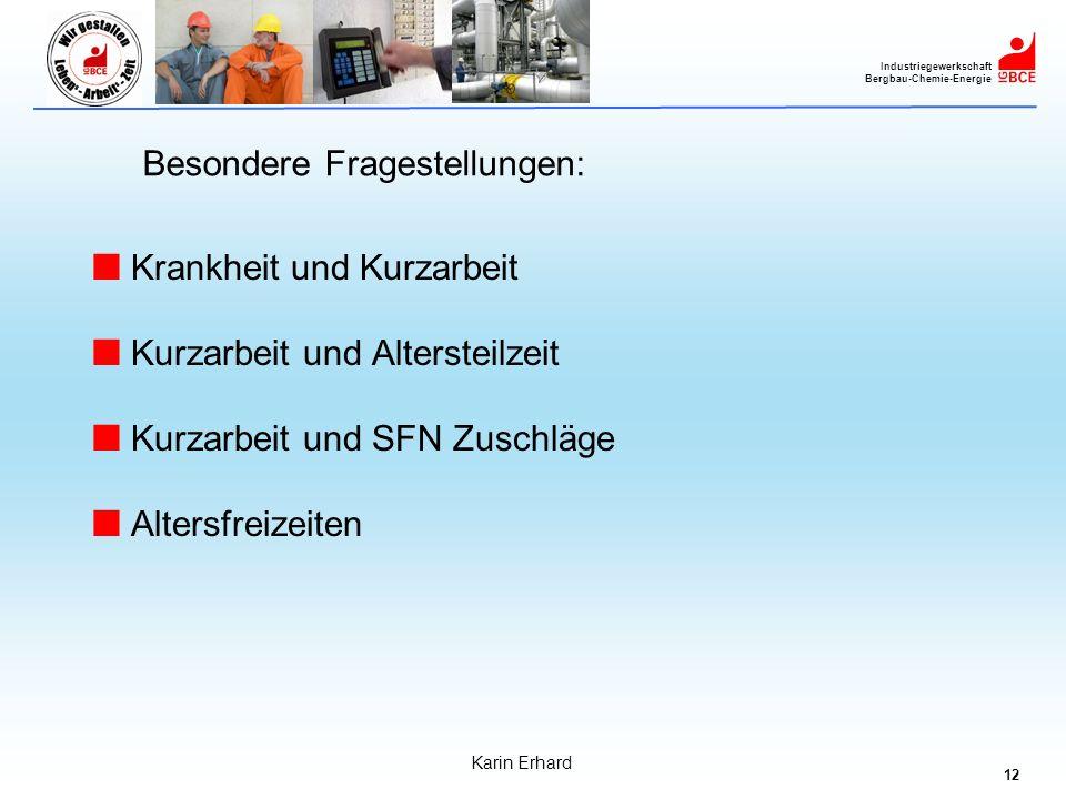 12 Industriegewerkschaft Bergbau-Chemie-Energie Karin Erhard Besondere Fragestellungen: Krankheit und Kurzarbeit Kurzarbeit und Altersteilzeit Kurzarb