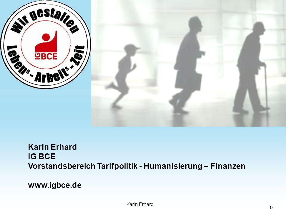 13 Industriegewerkschaft Bergbau-Chemie-Energie Karin Erhard IG BCE Vorstandsbereich Tarifpolitik - Humanisierung – Finanzen www.igbce.de