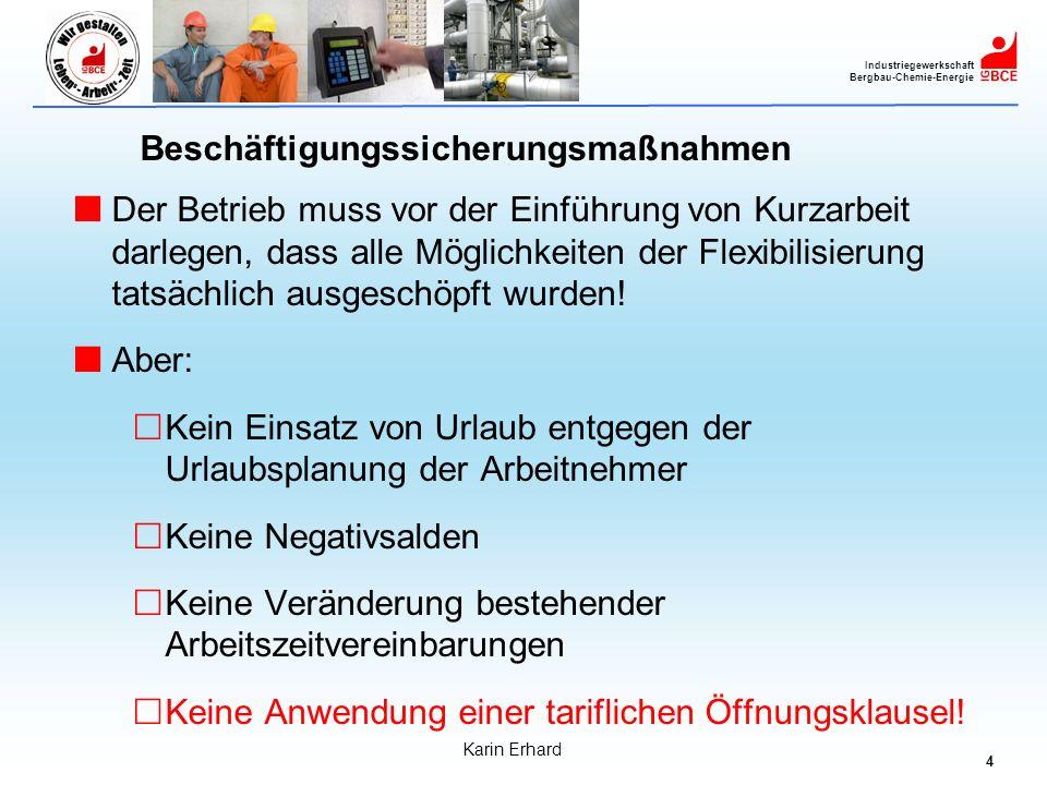 5 Industriegewerkschaft Bergbau-Chemie-Energie Karin Erhard Auch während der Krise gelten unsere Grundsätze zur Anwendung von Öffnungsklauseln.