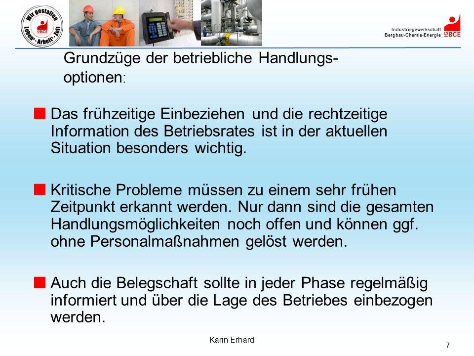 7 Industriegewerkschaft Bergbau-Chemie-Energie Karin Erhard Grundzüge der betriebliche Handlungs- optionen : Das frühzeitige Einbeziehen und die recht