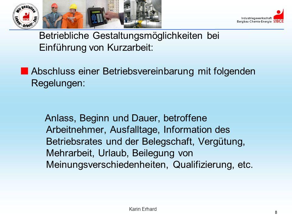 9 Industriegewerkschaft Bergbau-Chemie-Energie Karin Erhard Betriebliche Gestaltungsmöglichkeiten bei Kurzarbeit: Qualifizierung während Kurzarbeit: Während der Dauer der Kurzarbeit sollten Arbeitsausfälle möglichst sinnvoll im Interesse von Arbeitnehmern und Arbeitgebern für bedarfsgerechte und betriebsbezogene Qualifizierung genutzt werden.