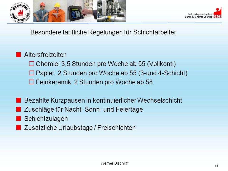 11 Industriegewerkschaft Bergbau-Chemie-Energie Werner Bischoff Besondere tarifliche Regelungen für Schichtarbeiter Altersfreizeiten Chemie: 3,5 Stund