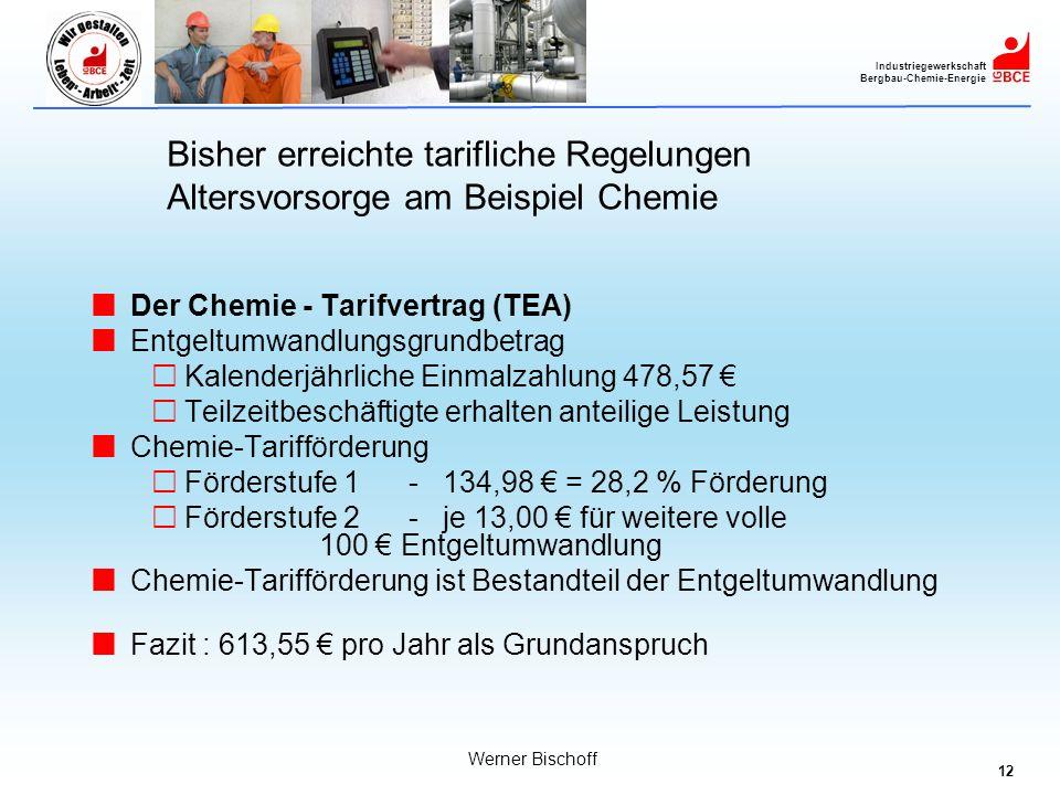 12 Industriegewerkschaft Bergbau-Chemie-Energie Werner Bischoff Der Chemie - Tarifvertrag (TEA) Entgeltumwandlungsgrundbetrag Kalenderjährliche Einmal
