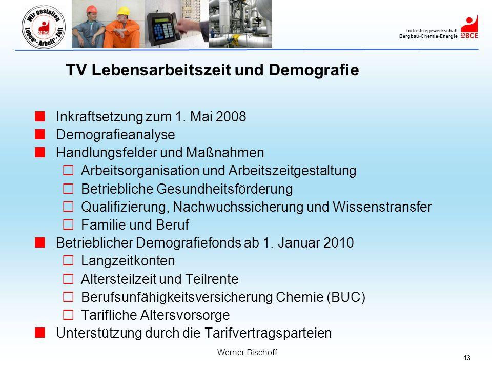 13 Industriegewerkschaft Bergbau-Chemie-Energie Werner Bischoff TV Lebensarbeitszeit und Demografie Inkraftsetzung zum 1. Mai 2008 Demografieanalyse H