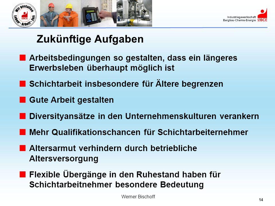 14 Industriegewerkschaft Bergbau-Chemie-Energie Werner Bischoff Zukünftige Aufgaben Arbeitsbedingungen so gestalten, dass ein längeres Erwerbsleben üb