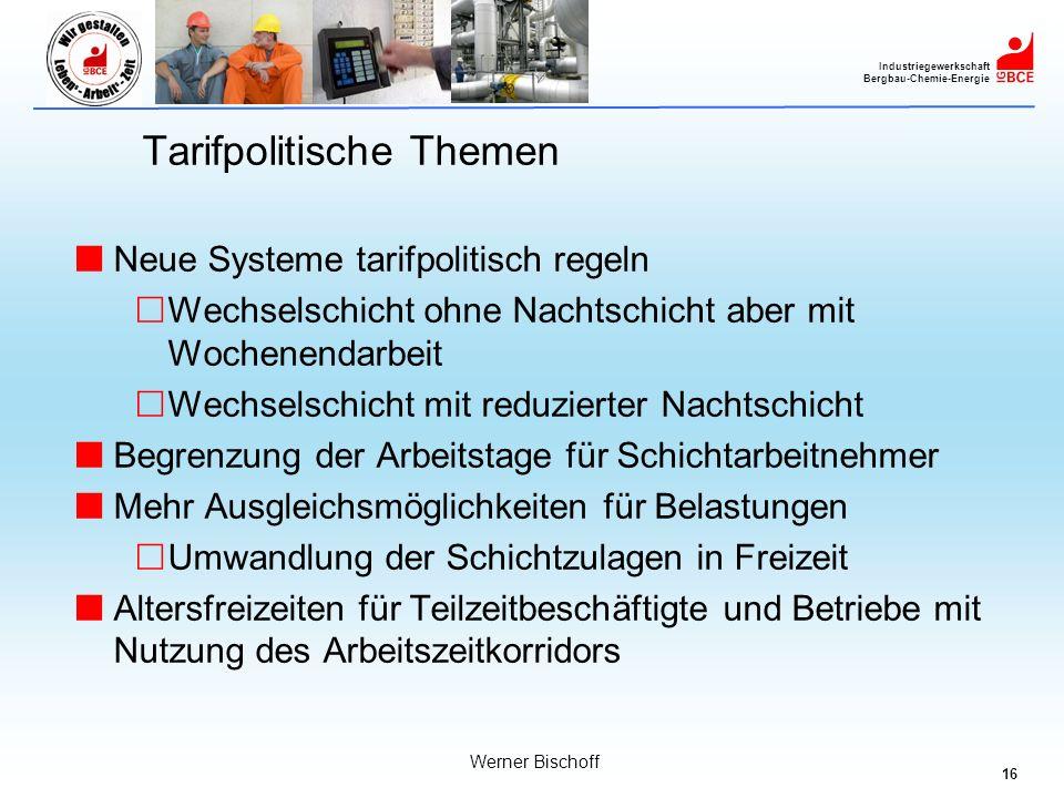 16 Industriegewerkschaft Bergbau-Chemie-Energie Werner Bischoff Tarifpolitische Themen Neue Systeme tarifpolitisch regeln Wechselschicht ohne Nachtsch