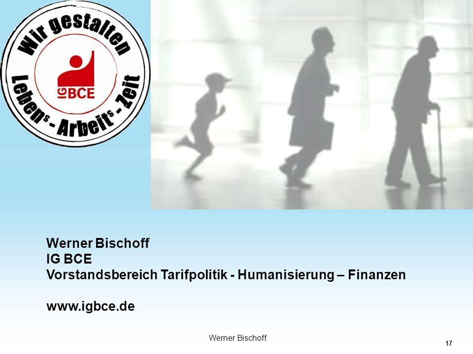 17 Industriegewerkschaft Bergbau-Chemie-Energie Werner Bischoff IG BCE Vorstandsbereich Tarifpolitik - Humanisierung – Finanzen www.igbce.de