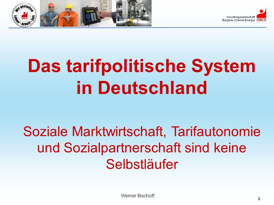 2 Industriegewerkschaft Bergbau-Chemie-Energie Werner Bischoff Das tarifpolitische System in Deutschland Soziale Marktwirtschaft, Tarifautonomie und S