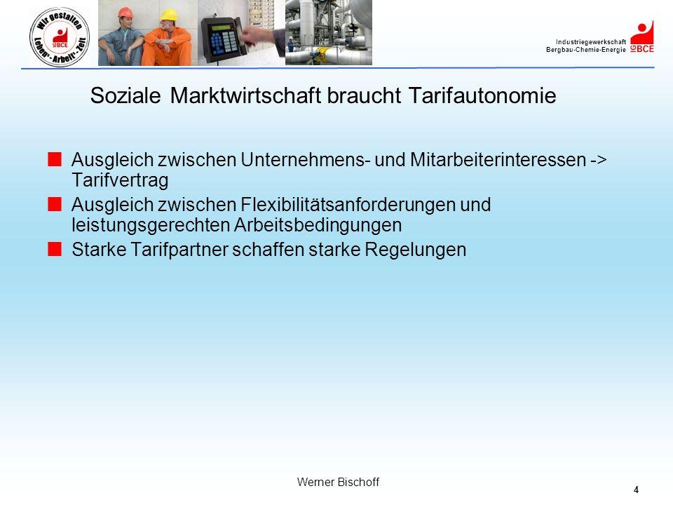 4 Industriegewerkschaft Bergbau-Chemie-Energie Werner Bischoff Soziale Marktwirtschaft braucht Tarifautonomie Ausgleich zwischen Unternehmens- und Mit