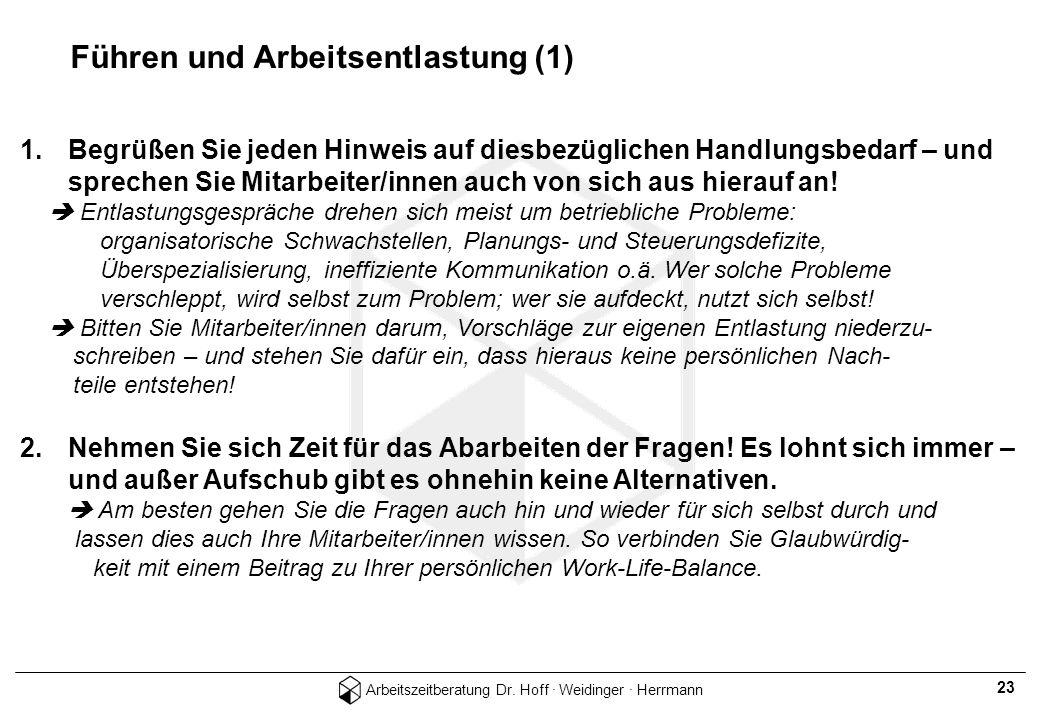 Arbeitszeitberatung Dr. Hoff · Weidinger · Herrmann 23 Führen und Arbeitsentlastung (1) 1.Begrüßen Sie jeden Hinweis auf diesbezüglichen Handlungsbeda