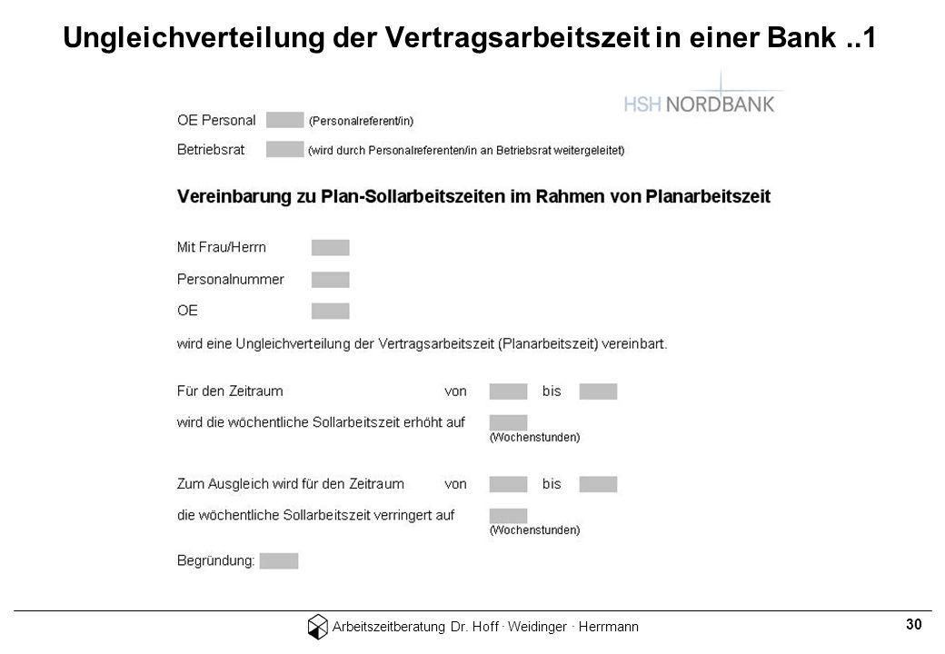 Arbeitszeitberatung Dr. Hoff · Weidinger · Herrmann 30 Ungleichverteilung der Vertragsarbeitszeit in einer Bank..1