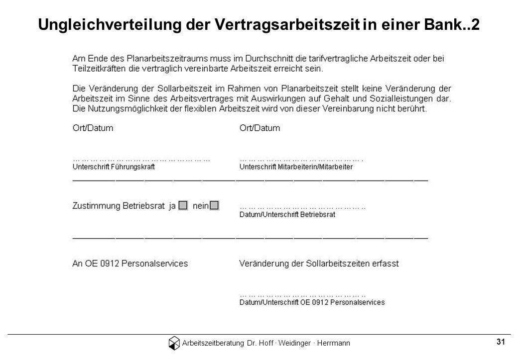 Arbeitszeitberatung Dr. Hoff · Weidinger · Herrmann 31 Ungleichverteilung der Vertragsarbeitszeit in einer Bank..2