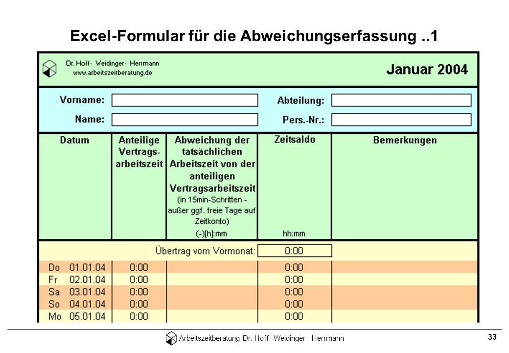 Arbeitszeitberatung Dr. Hoff · Weidinger · Herrmann 33 Excel-Formular für die Abweichungserfassung..1