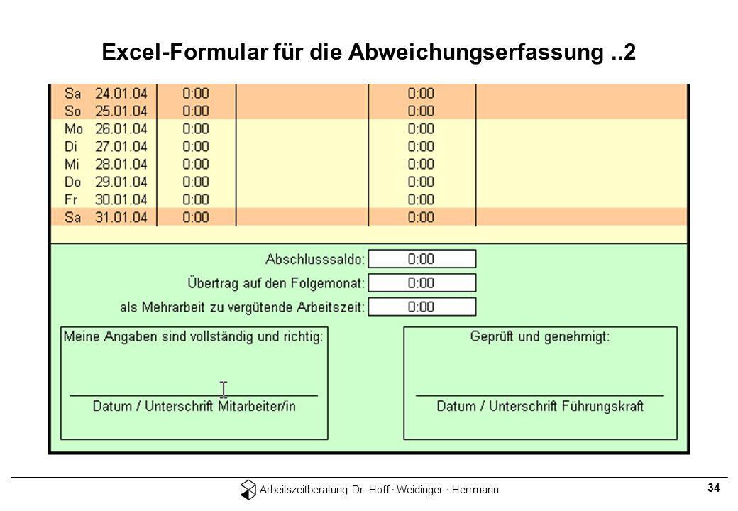Arbeitszeitberatung Dr. Hoff · Weidinger · Herrmann 34 Excel-Formular für die Abweichungserfassung..2