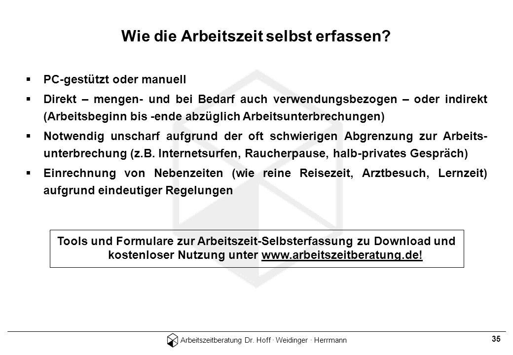 Arbeitszeitberatung Dr. Hoff · Weidinger · Herrmann 35 PC-gestützt oder manuell Direkt – mengen- und bei Bedarf auch verwendungsbezogen – oder indirek